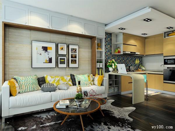 欧式田园客餐厅效果图 26�O单身公寓系列_维意定制家具商城