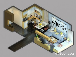 现代简约客餐厅效果图 33�O提高整体收纳_维意定制家具商城