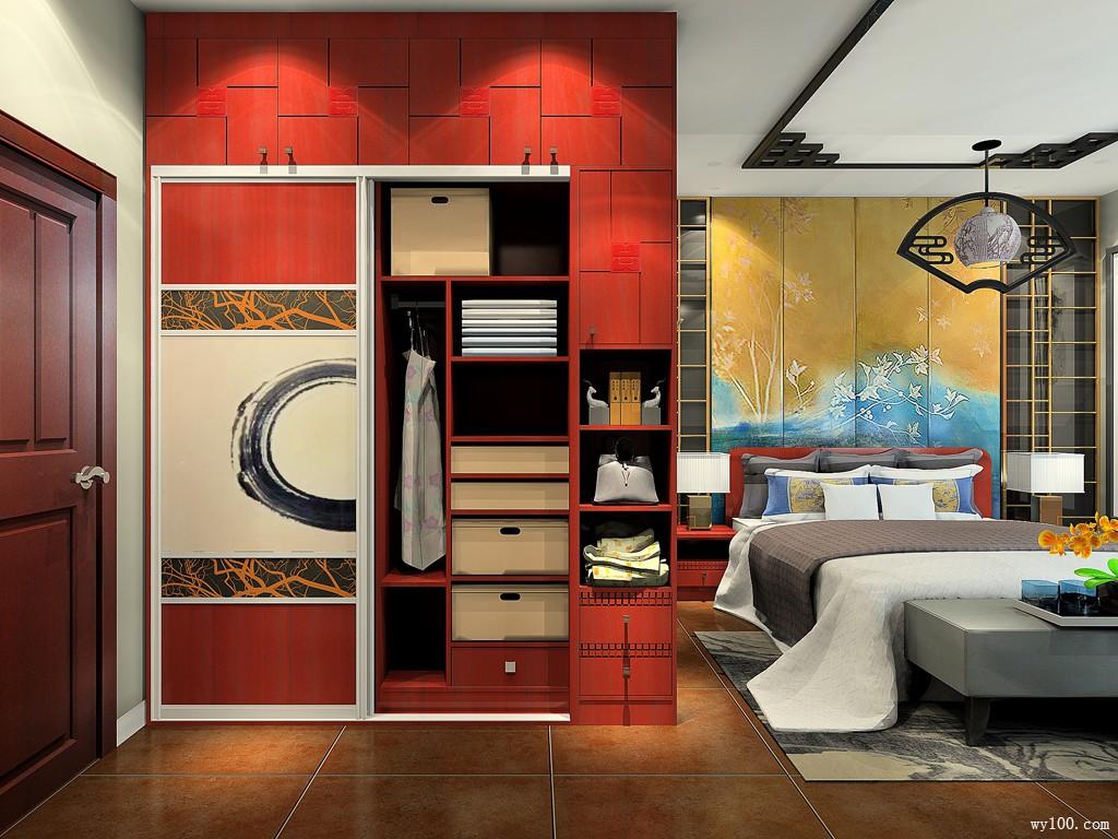 中式卧房效果图 23㎡水墨新中式设计_维意定制家具商城