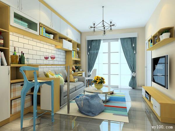 现代简约客餐厅效果图 28�O吧台当餐桌_维意定制家具商城