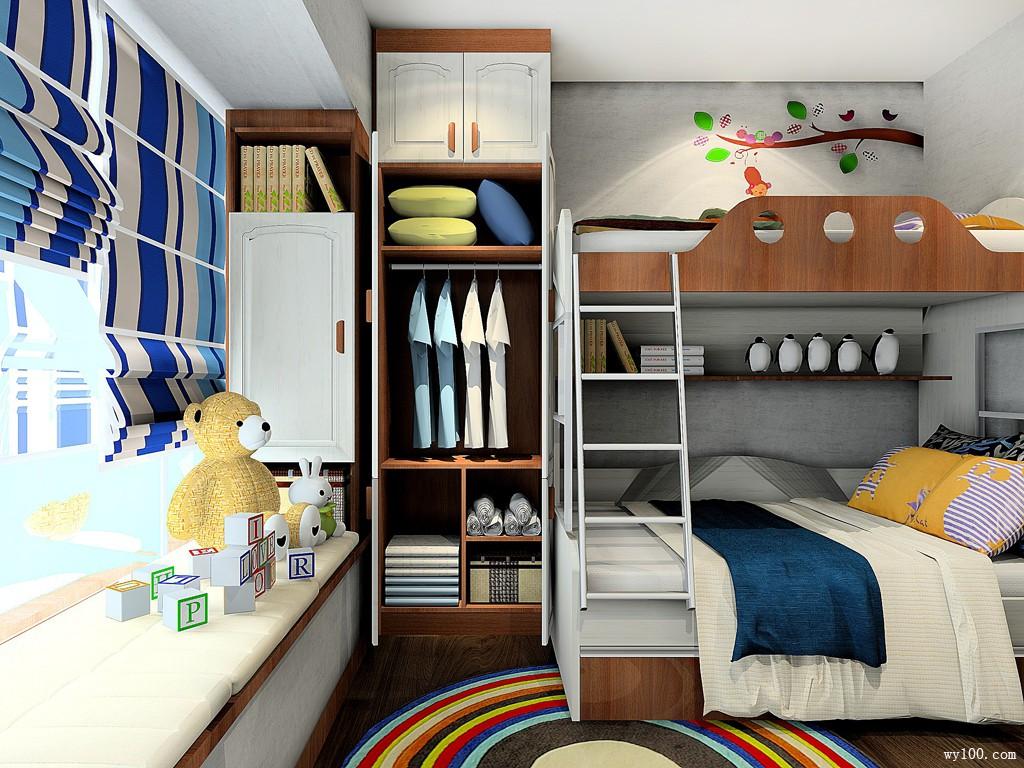 男孩儿童房装修效果图 7㎡温馨简约