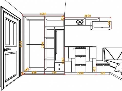 中式卧室效果图 21㎡古风江南园林
