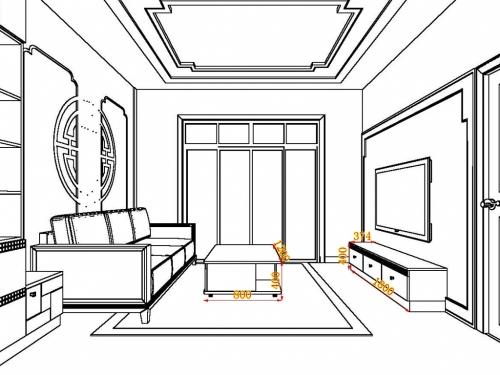 手绘客餐厅平面图