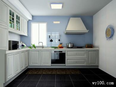 L型厨房效果图 7�O淡淡的蓝色彰显柜体时尚 title=
