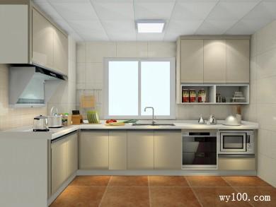 L型设计厨房 吊柜设计与开放结合更加美观简洁 title=