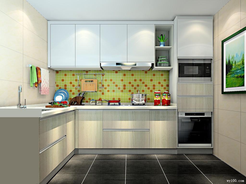 白色L型厨房 精致现代收纳_维意定制家具商城