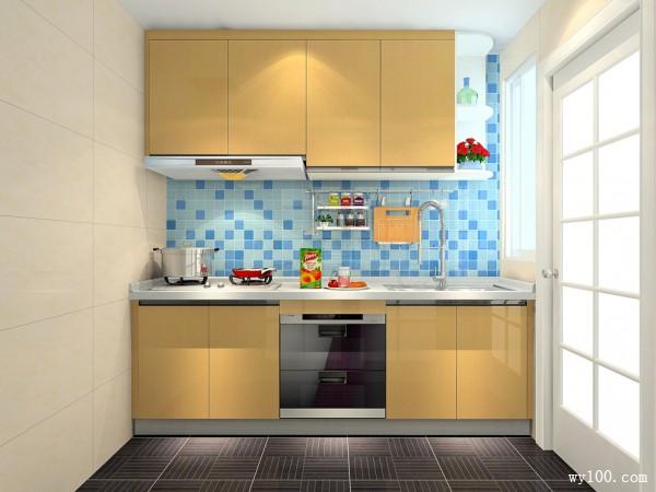现代一字型厨房装修效果图