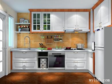 L型设计厨房 吊柜增加储物空间整体实用大方 title=