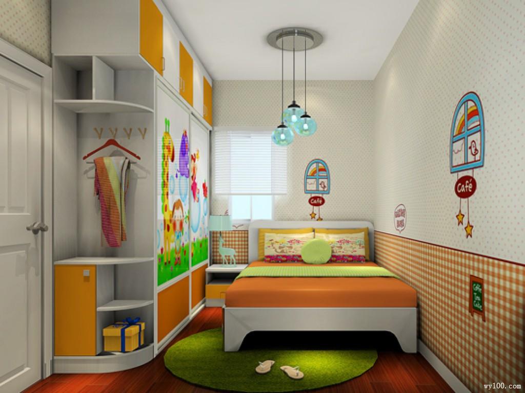 多彩儿童房效果图 设计师出招解决10㎡l型户型