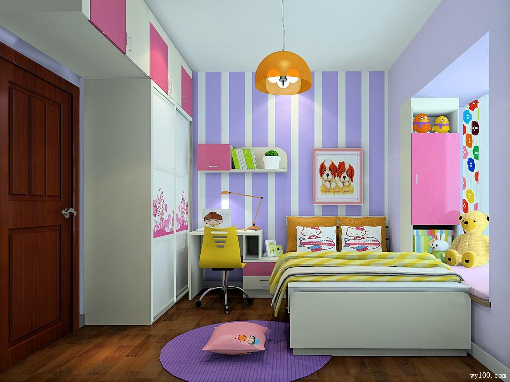 小户型儿童房效果图 7�O粉紫梦幻糖果装饰_维意定制家具商城