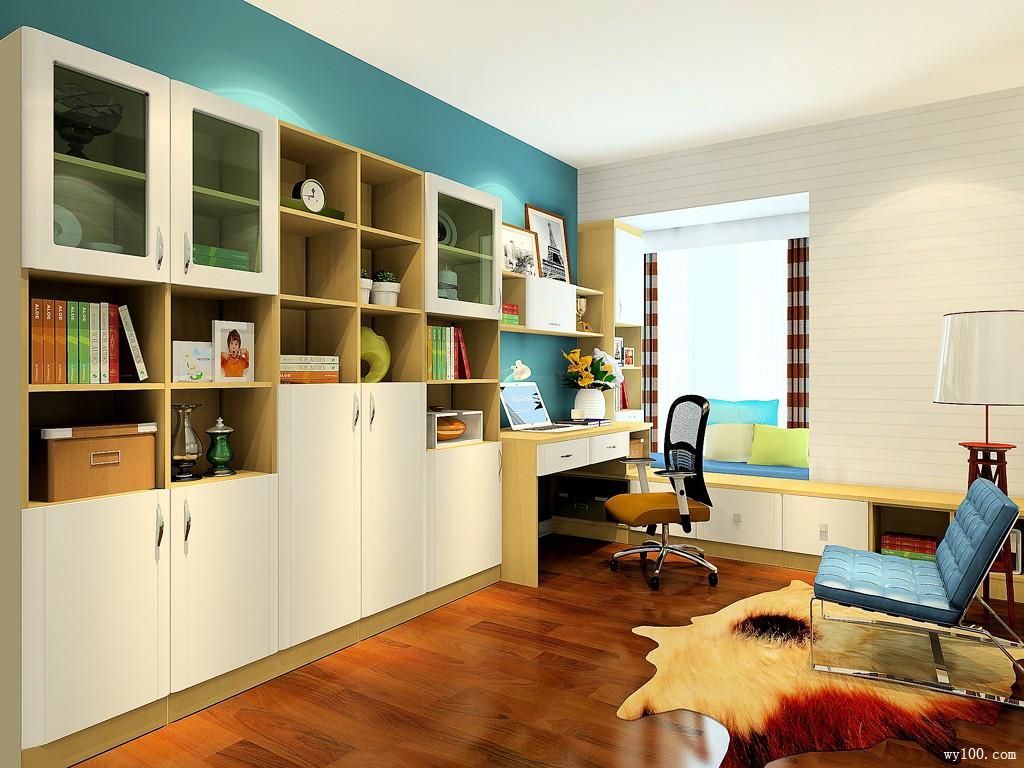 玉玛风情风格书房设计效果图_维意定制家具商城