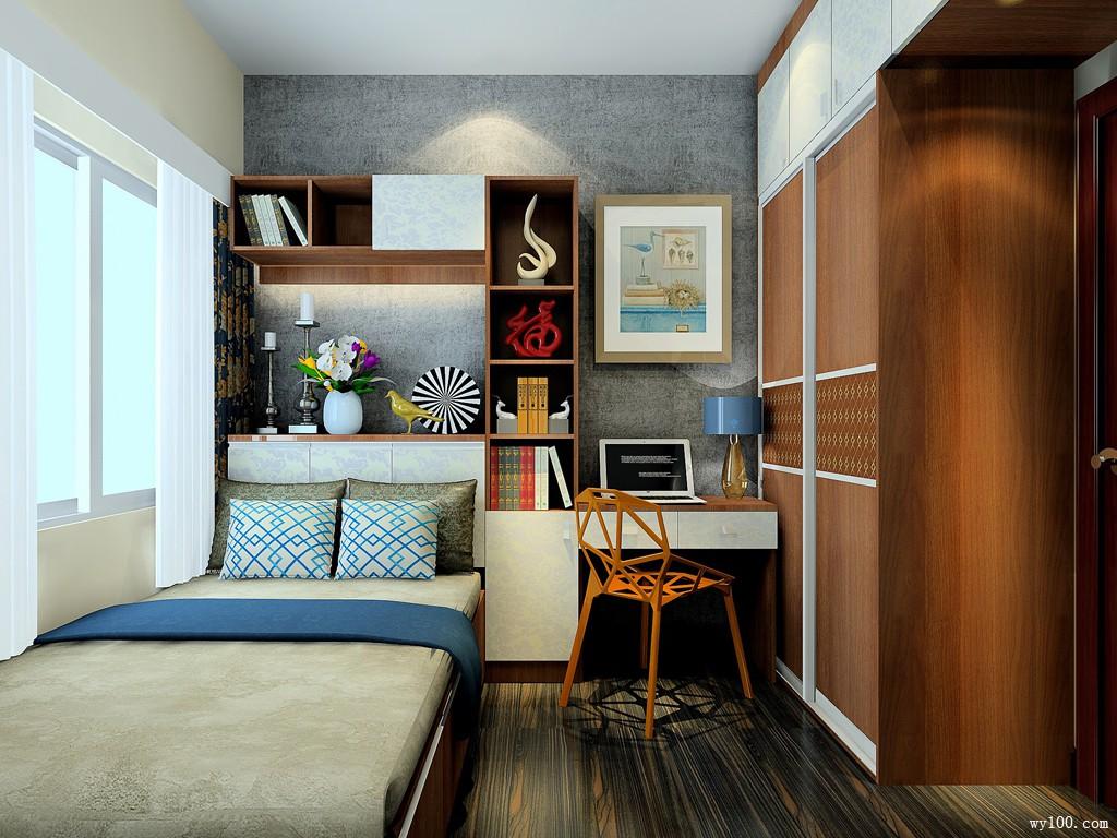 榻榻米书桌卧室效果图 7�O整体空间设计成稳_赌盘网