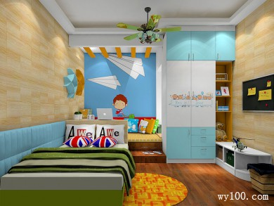 书桌隔断儿童房效果图 8�O让空间显得整体统一 title=