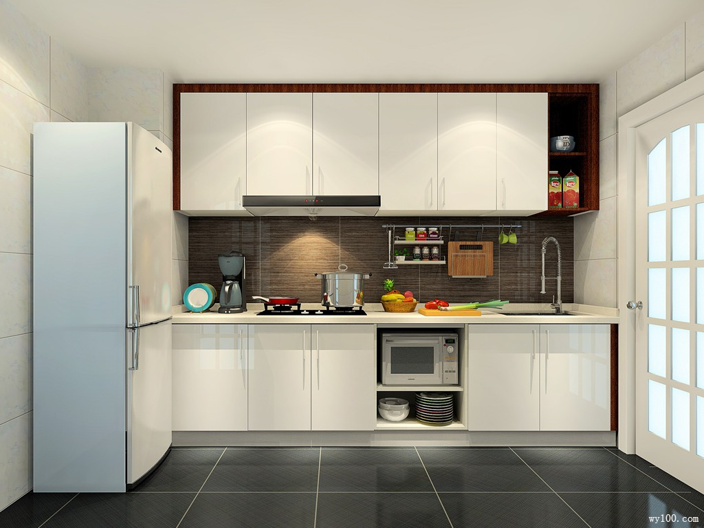 一字型橱柜布局厨房 呈现柜体优雅气息_赌盘网