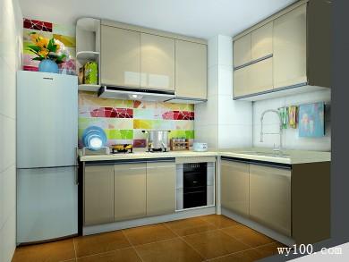 L型柜体厨房效果图 4平强化了色彩的空灵度 title=