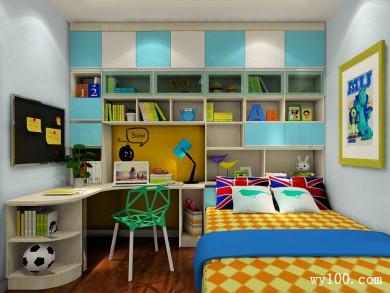 衣柜书桌儿童房效果图 11平增加房间的收纳空间 title=