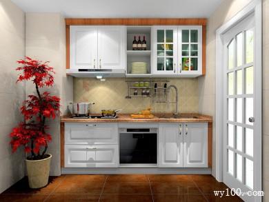 一字型橱柜效果图 4平满足了厨房的基本功能 title=