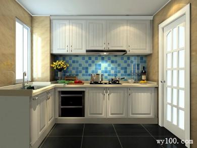 蓝色背景墙厨房效果图 4�O空间带有现代的清新 title=