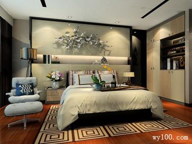 现代卧室效果图 背景墙设计让整体更加高档时尚 title=