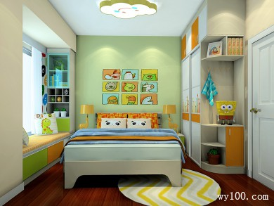 黄绿色面板为主卧室 超强收纳满足客户需求 title=