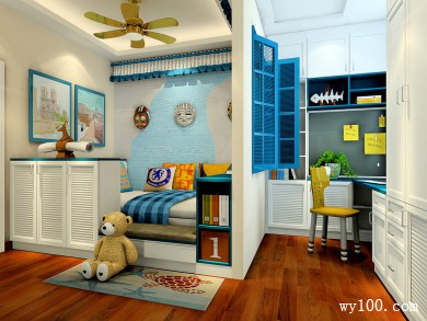 上下床儿童房设计 隔断窗分割了学习和睡眠区域