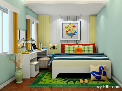 卧室设计图 13�O整体色调以绿色为主 title=