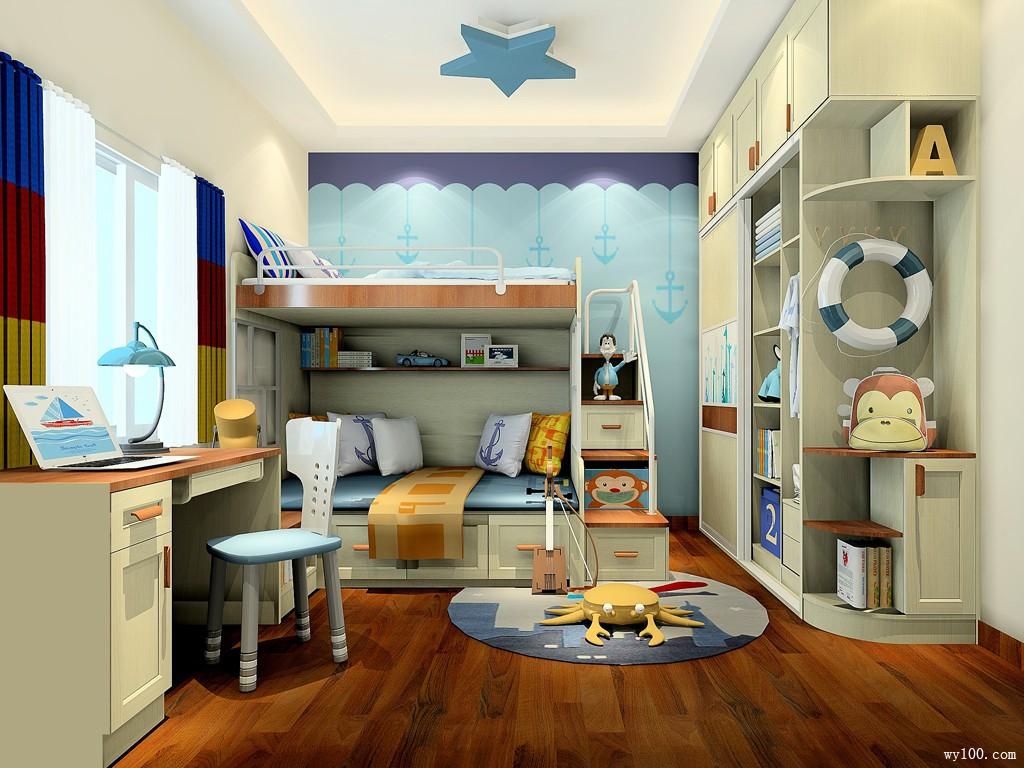 多彩童年儿童房效果图 11�O提升整体储物功能_维意定制家具商城