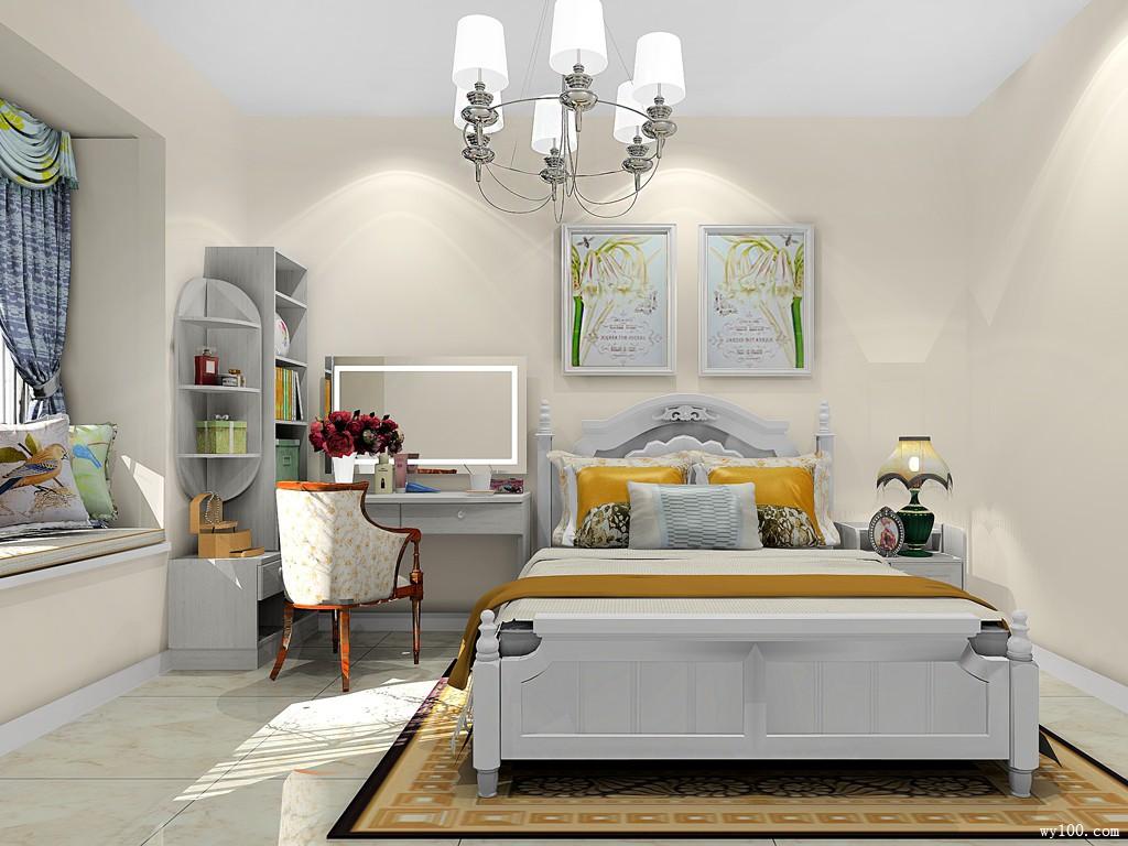 美式田园卧室效果图 10�O米黄色调显温馨_维意定制家具商城