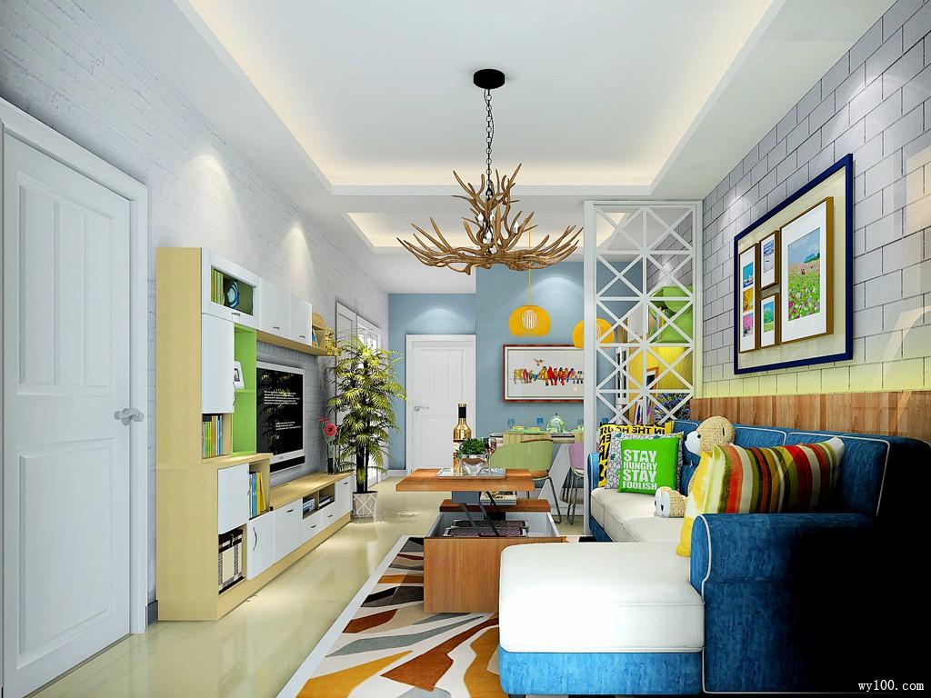 现代简约客餐厅效果图 27�O整体饱满丰富_维意定制家具商城