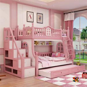 现代梦幻卧室高低床装修效