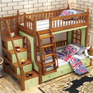 全实木卧室高低床装修效果