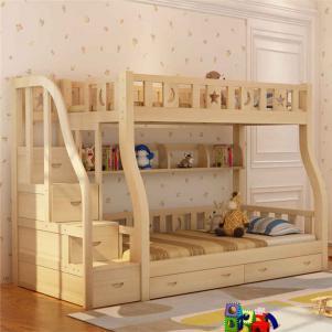 简约松木卧室高低床装修效