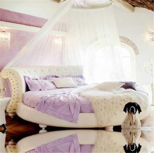 粉色皮艺圆床榻榻米