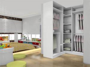 现代卧室带衣帽间效果图