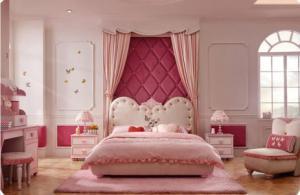 欧式粉色圆形床卧室效果图