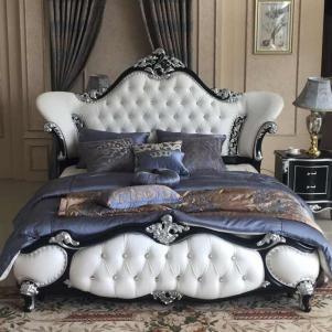 高箱白色雕花法式家具床