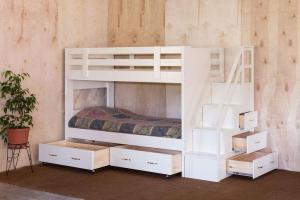 实木抽屉卧室二层床