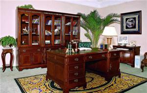 中式实木整体书柜