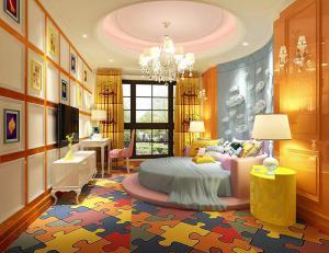 粉色系儿童房圆形床卧室效