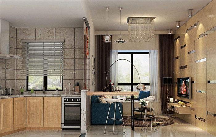 小户型客厅开放式厨房隐形门