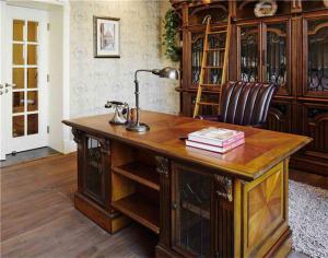 美式书桌实木实景图