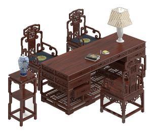中式书桌模型
