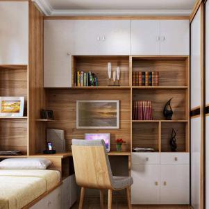 韩式田园卧室转角书桌加衣