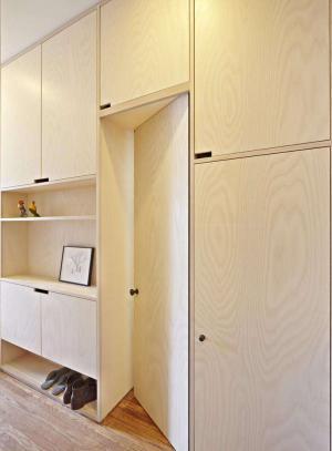 现代米色卧室隐形门装修效