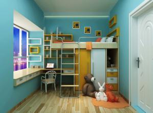 上下床儿童房书柜