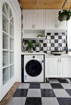 黑白格子阳台洗衣池效果图