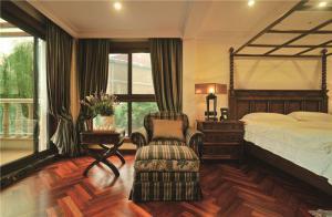 中式实木家具床