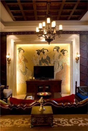 唐朝壁画中式电视墙装修效