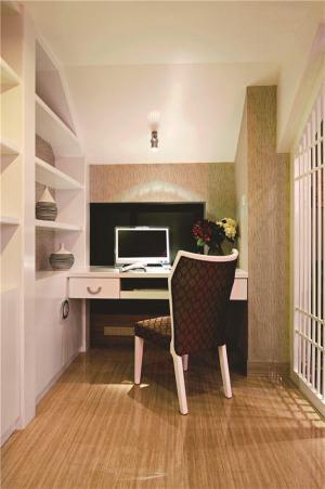 阳台改书房效果图书柜书桌一体