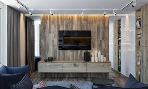 原木家庭装饰电视背景墙